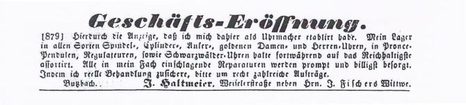 Original Anzeige zur Eröffnung von 1864